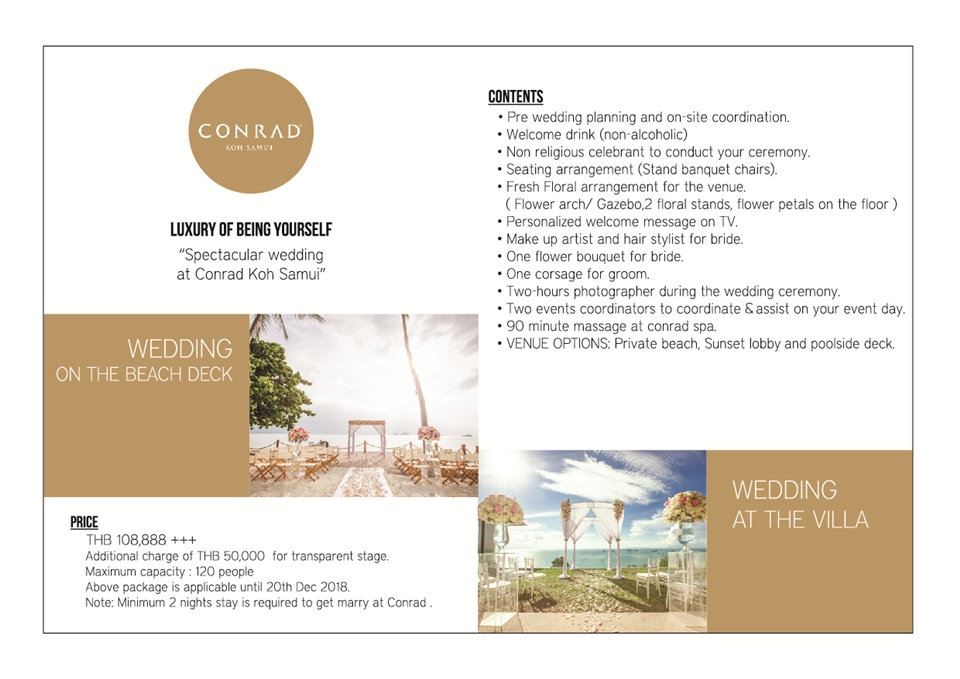 Wedding Package Conrad Samui